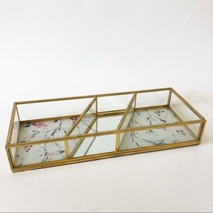 Gold Mirror Accent Open Jewelry Box Tray